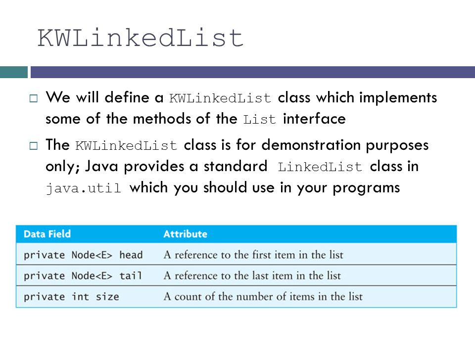 KWLinkedList We will define a KWLinkedList class which implements some of the methods of the List interface.