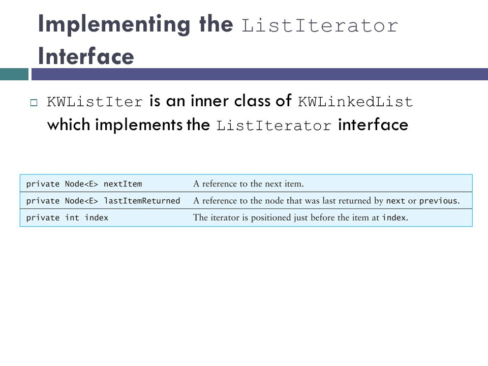 Implementing the ListIterator Interface