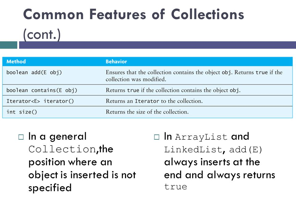Common Features of Collections (cont.)