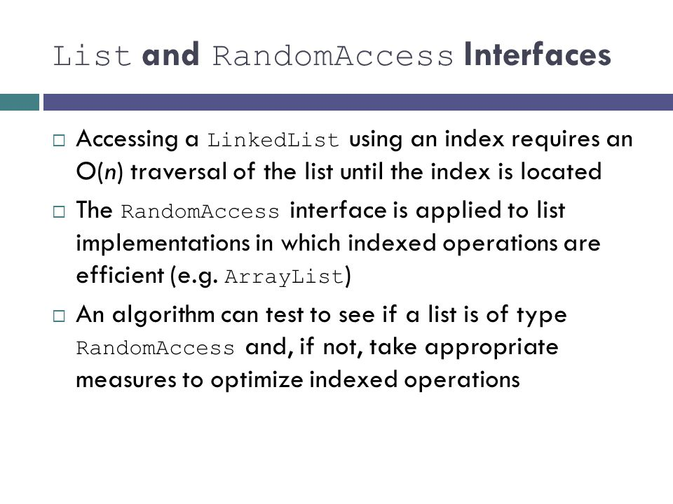 List and RandomAccess Interfaces