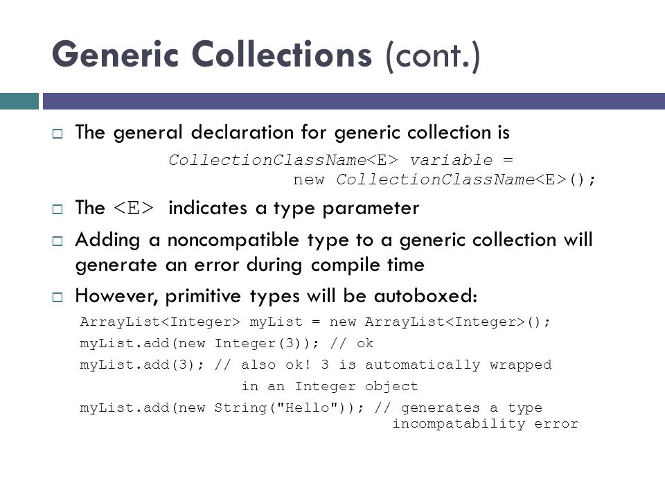 Generic Collections (cont.)