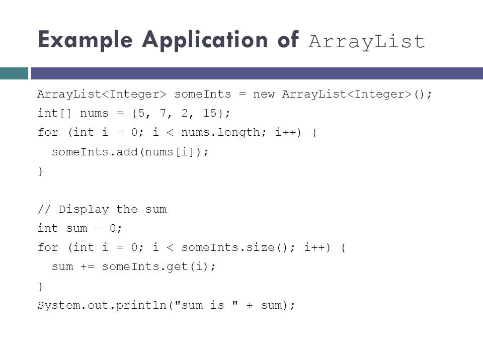 Example Application of ArrayList