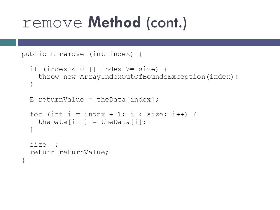 remove Method (cont.)