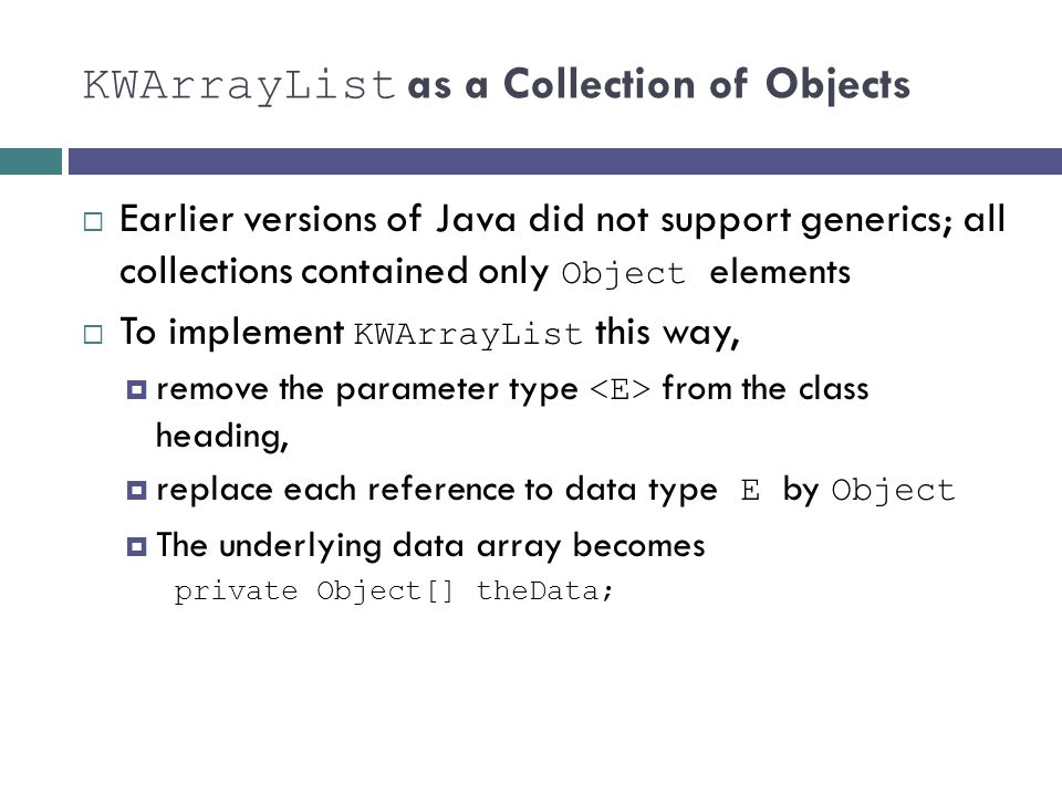 KWArrayList as a Collection of Objects
