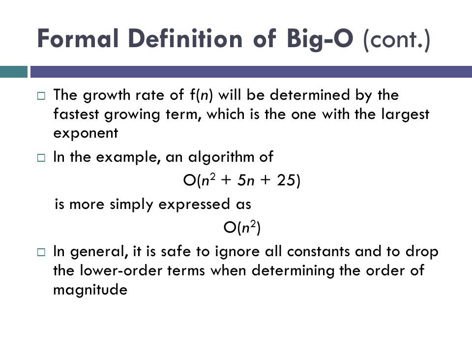 Formal Definition of Big-O (cont.)