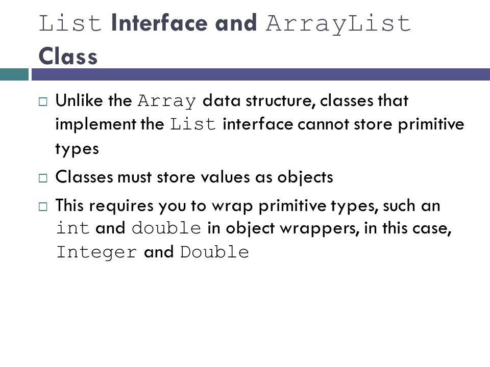 List Interface and ArrayList Class