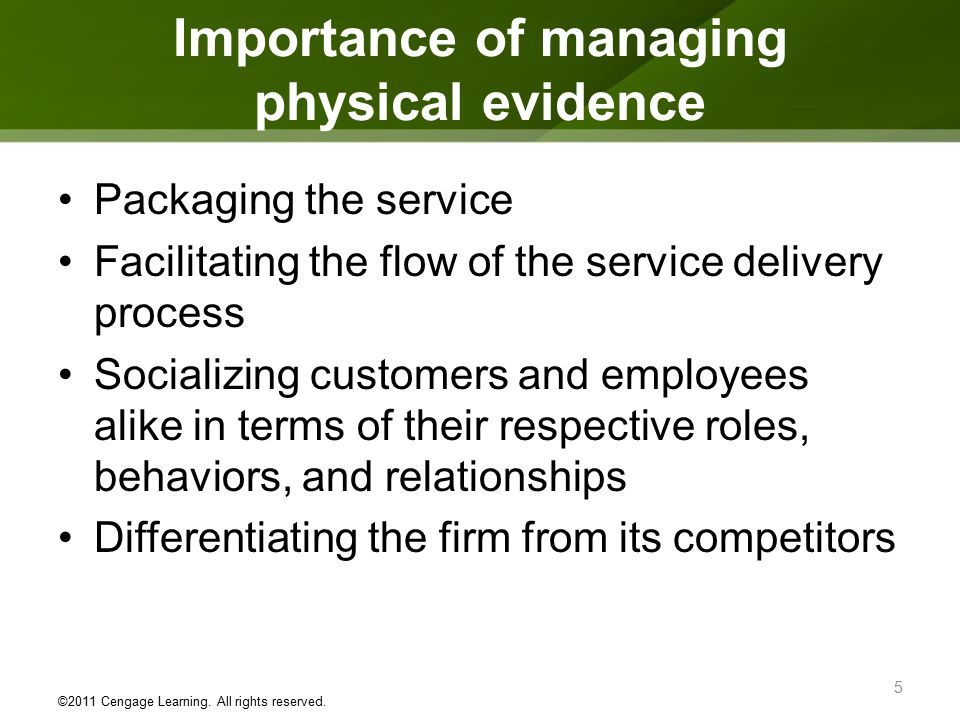 importance of physical evidence in service sector Physical evidence in marketing mix is one of the additional 3 p's of the service marketing cleanliness in healthcare provider's clinic, external look and interior decor of an eating place, the comfort of the seating arrangement in a movie theater, facility for personal needs at the airport all contribute towards the image of the service.