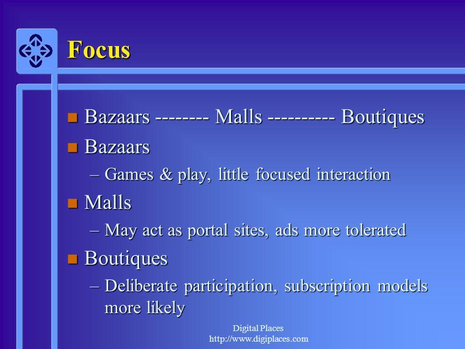 Focus Bazaars -------- Malls ---------- Boutiques Bazaars Malls