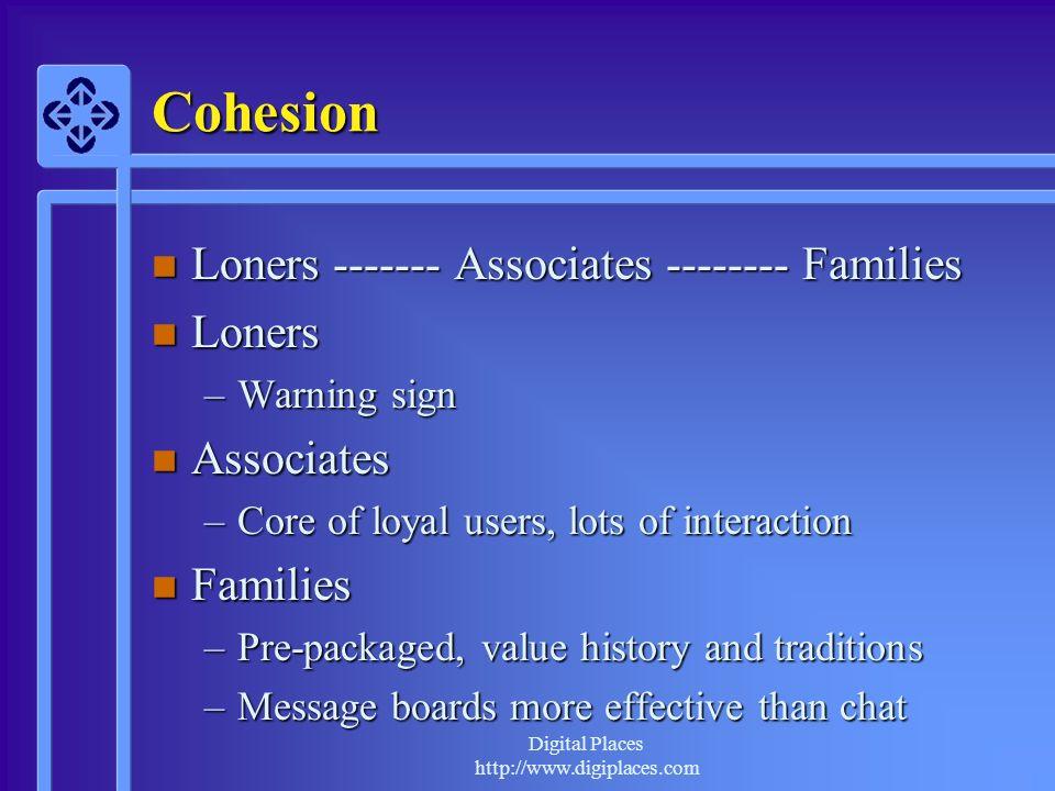 Cohesion Loners ------- Associates -------- Families Loners Associates