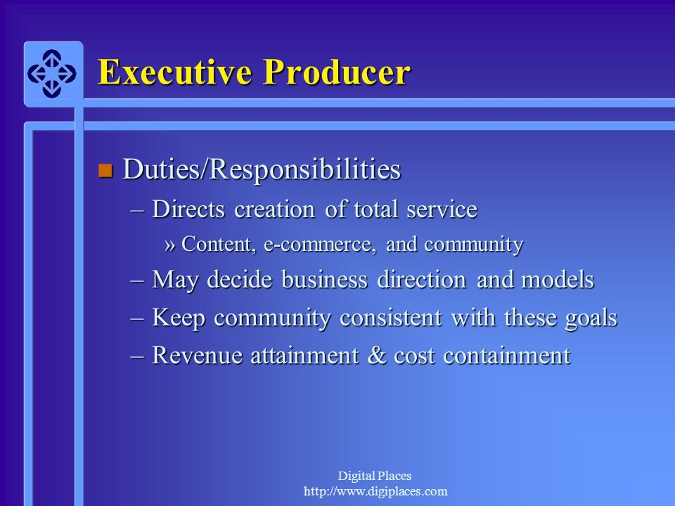 Executive Producer Duties/Responsibilities