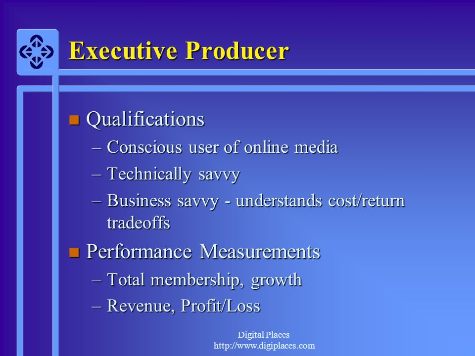 Executive Producer Qualifications Performance Measurements