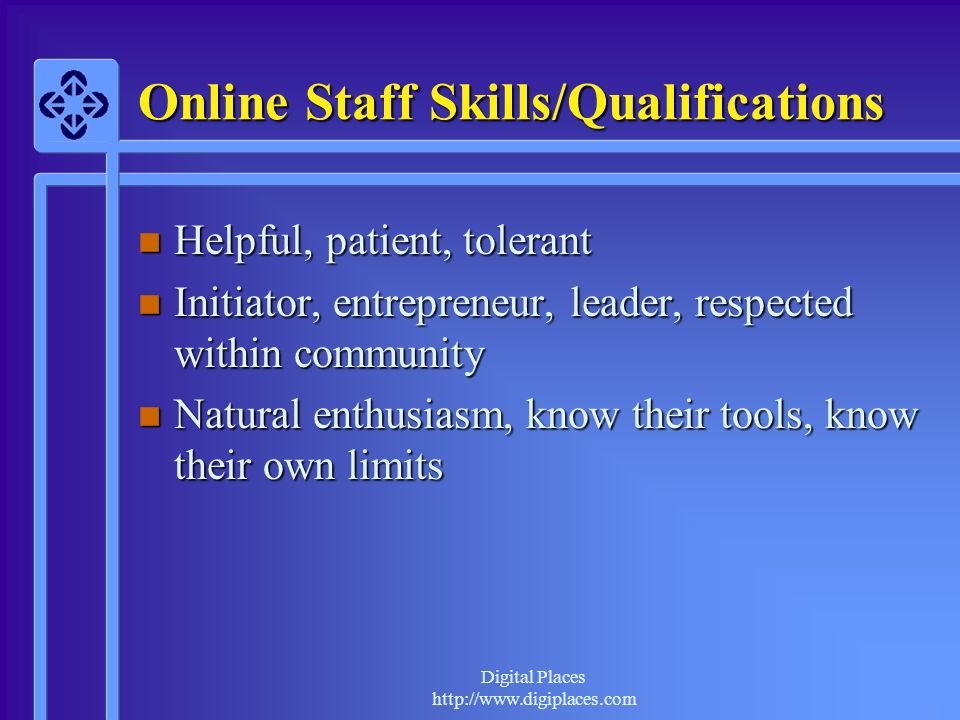 Online Staff Skills/Qualifications