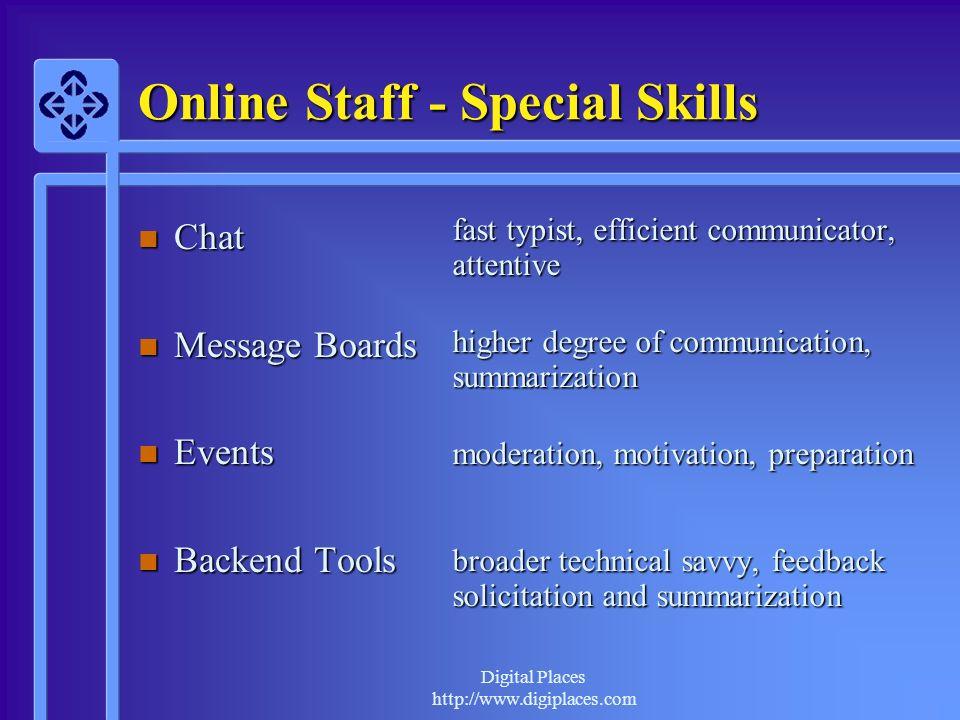 Online Staff - Special Skills
