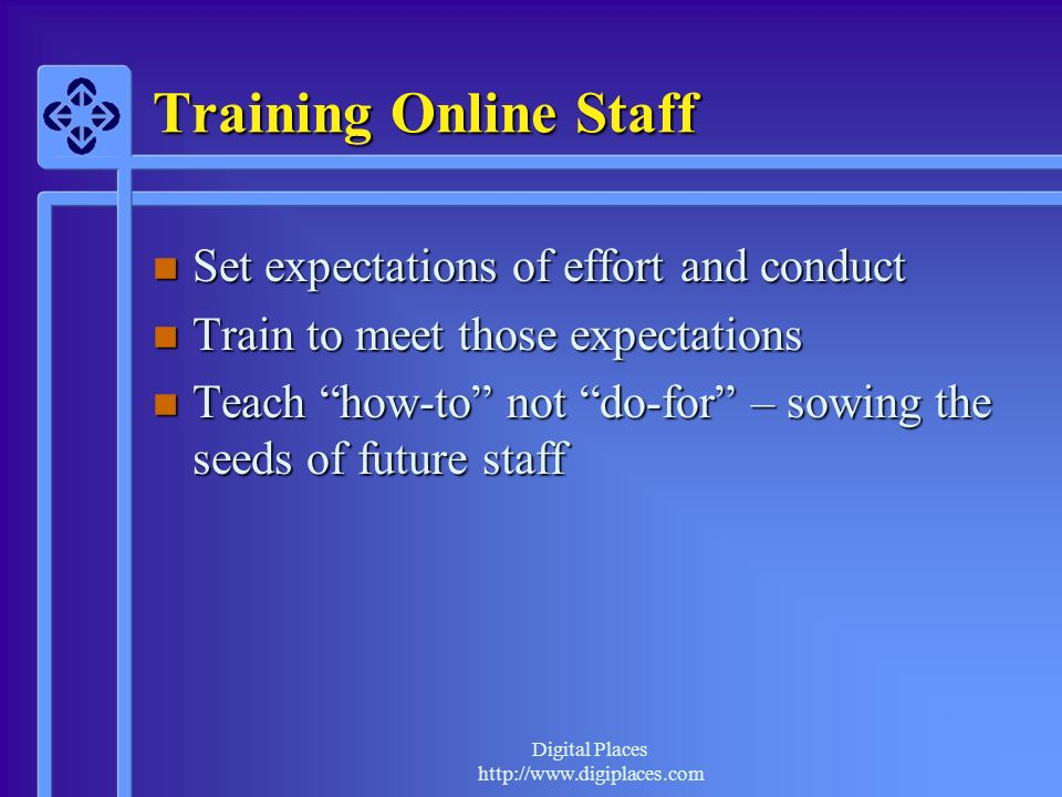 Training Online Staff Set expectations of effort and conduct