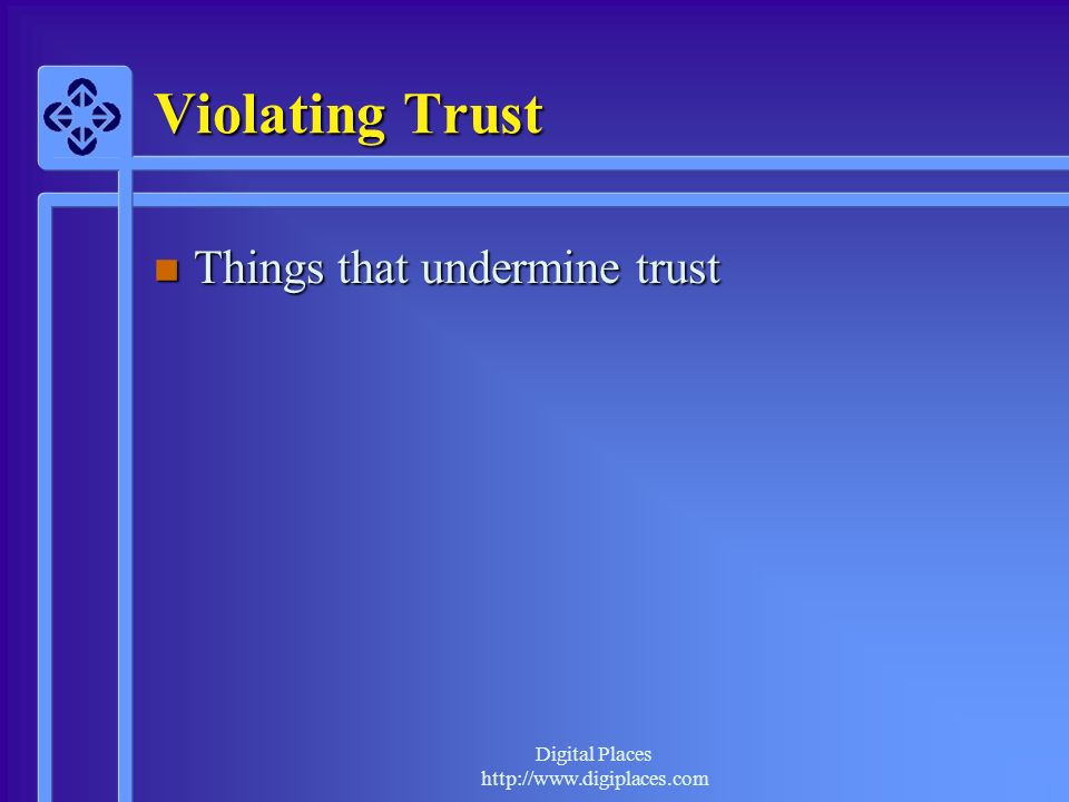 Violating Trust Things that undermine trust