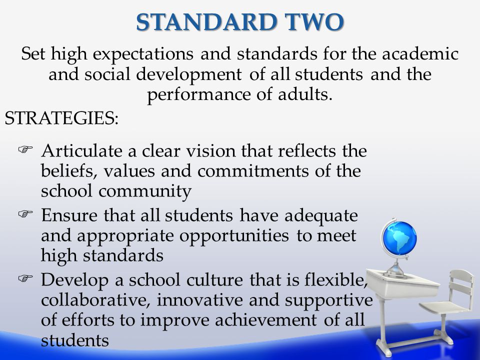 STANDARD TWO Set high expectations and standards for the academic and social development of all students and the performance of adults.