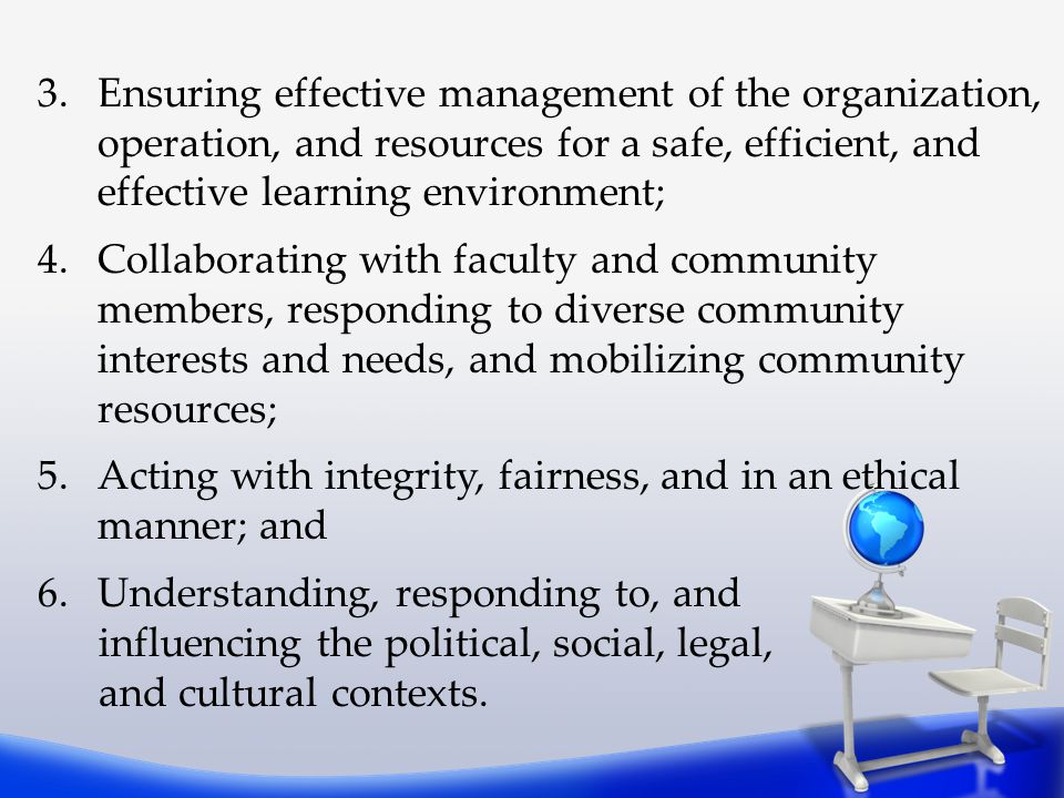Ensuring effective management of the organization, operation, and resources for a safe, efficient, and effective learning environment;