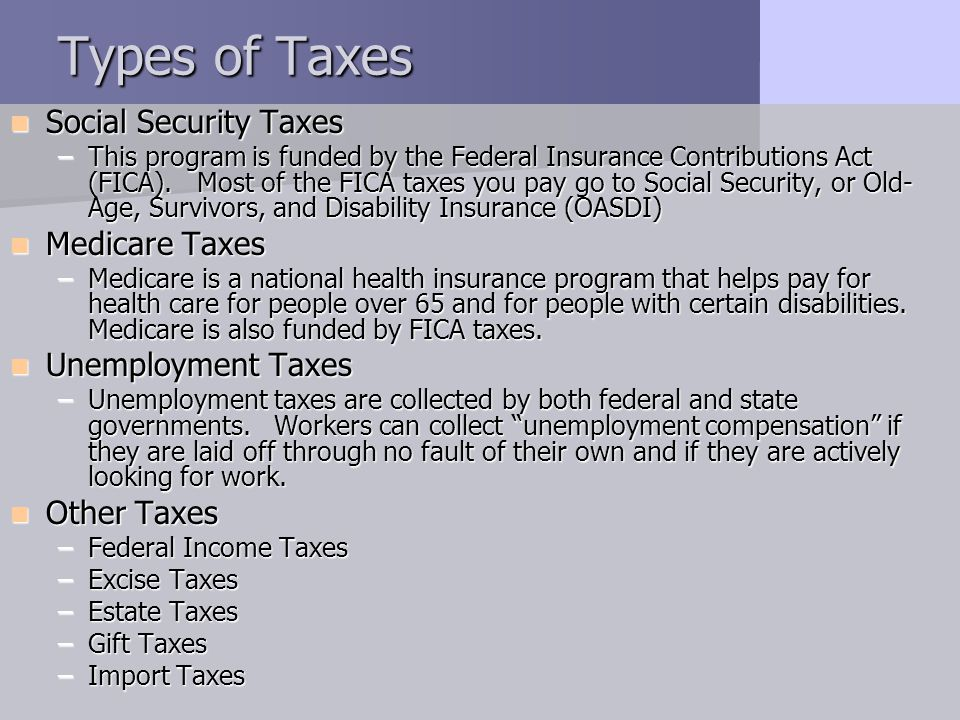 Types of Taxes Social Security Taxes Medicare Taxes Unemployment Taxes