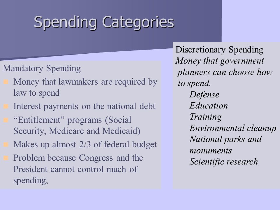 Spending Categories Discretionary Spending Money that government