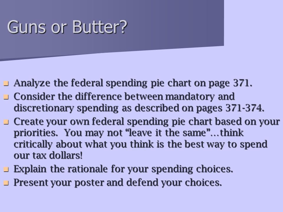 Guns or Butter Analyze the federal spending pie chart on page 371.