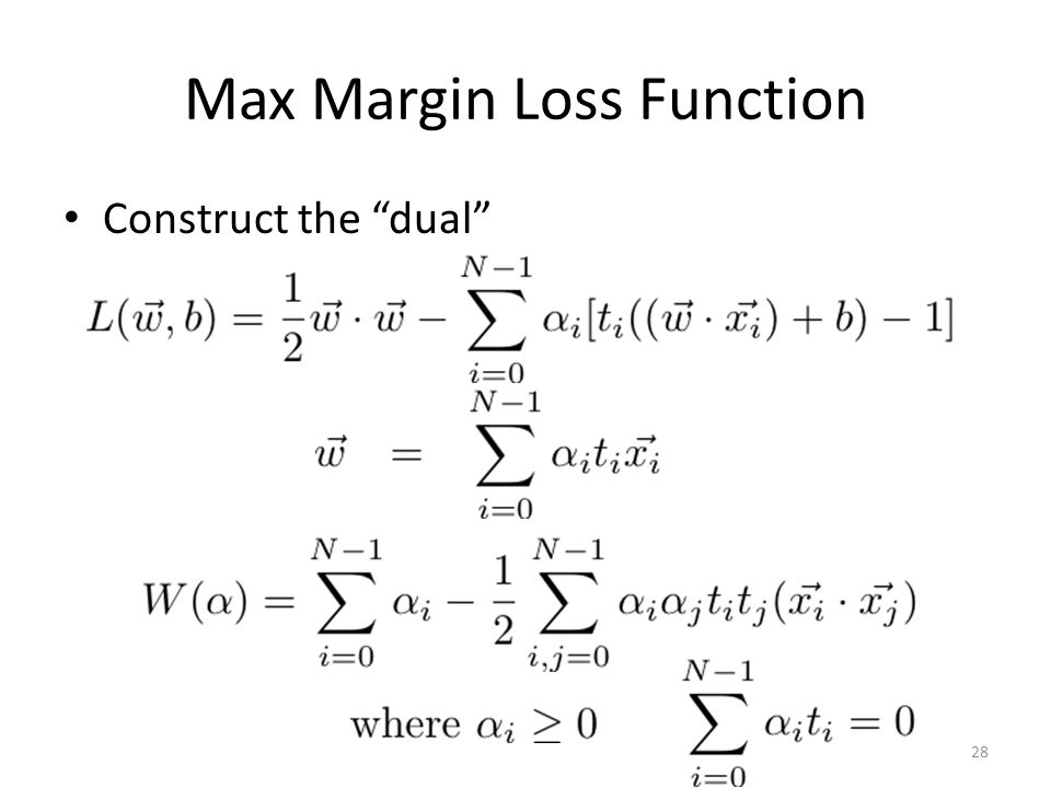 Max Margin Loss Function