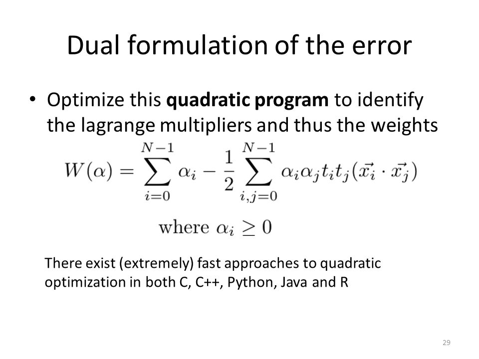 Dual formulation of the error