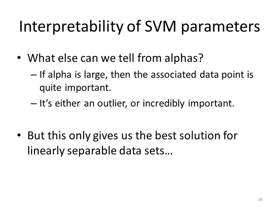 Interpretability of SVM parameters