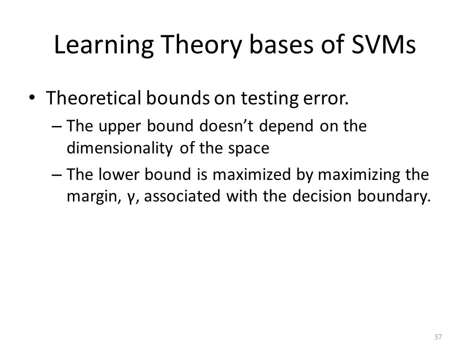 Learning Theory bases of SVMs