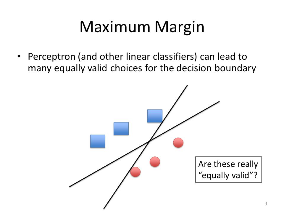 Maximum Margin Perceptron (and other linear classifiers) can lead to many equally valid choices for the decision boundary.