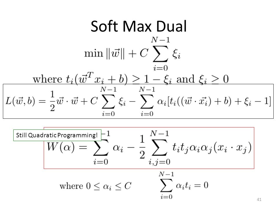 Soft Max Dual Still Quadratic Programming!