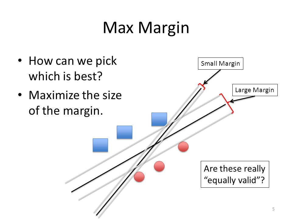 Max Margin How can we pick which is best