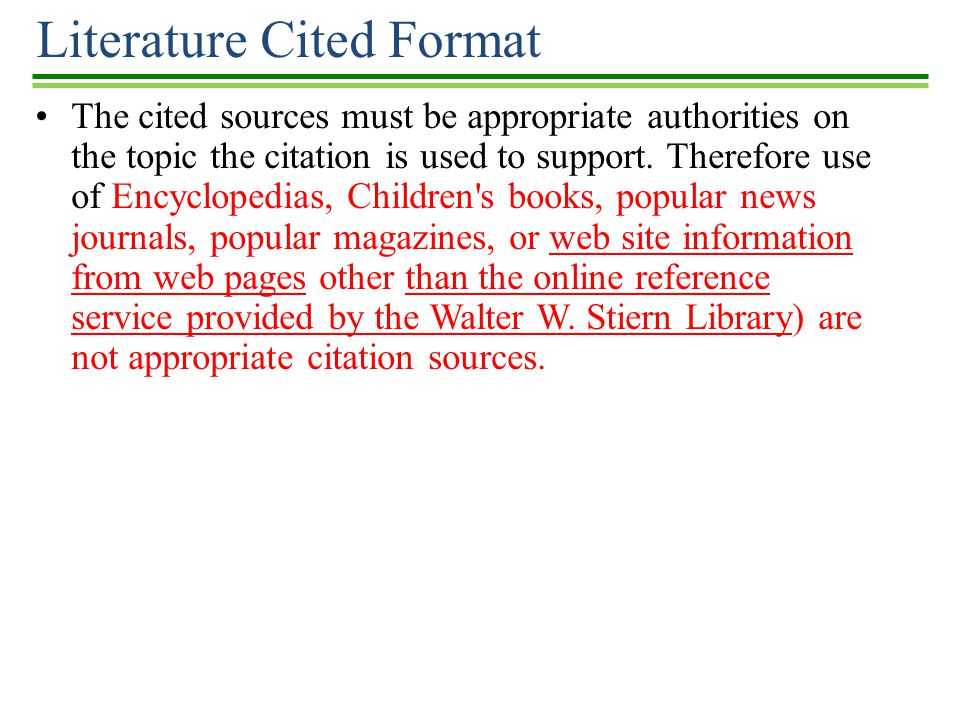 literature cited format Listing 'literature cited' at the end of your essay: at the end of your essay, you must have a section entitled 'literature cited' this section should include an alphabetical list of all of the literature cited in the body of your essay.