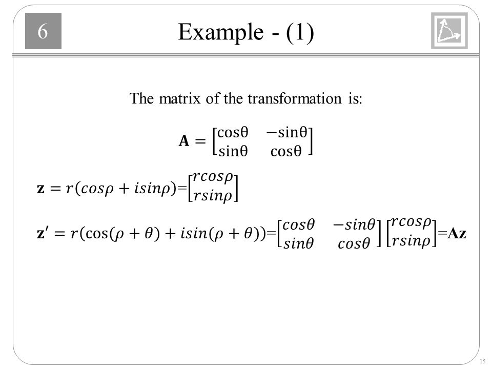 The matrix of the transformation is: