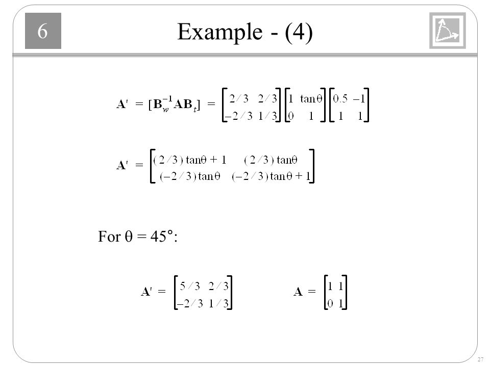 Example - (4) For q = 45°:
