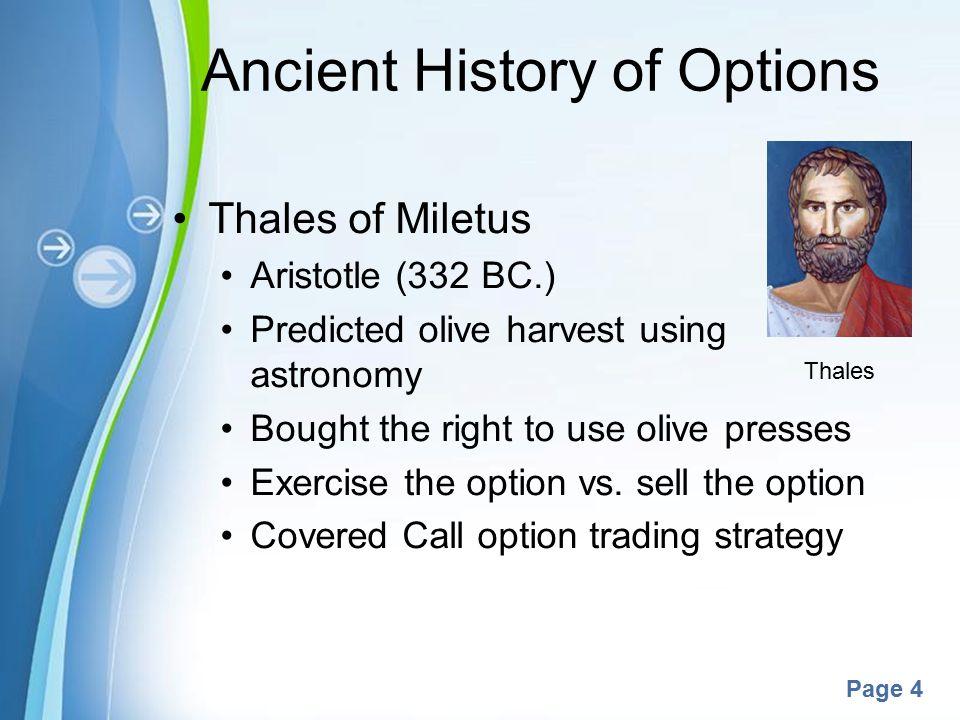 Options trading history