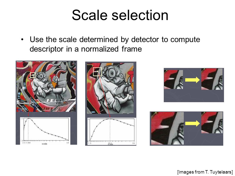 Scale selection Use the scale determined by detector to compute descriptor in a normalized frame.