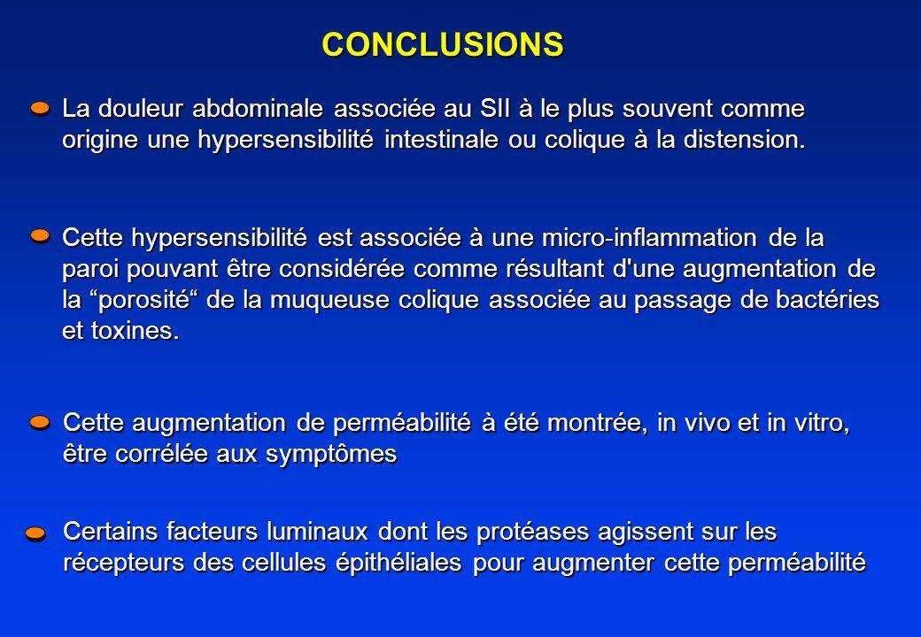 CONCLUSIONS La douleur abdominale associée au SII à le plus souvent comme origine une hypersensibilité intestinale ou colique à la distension.