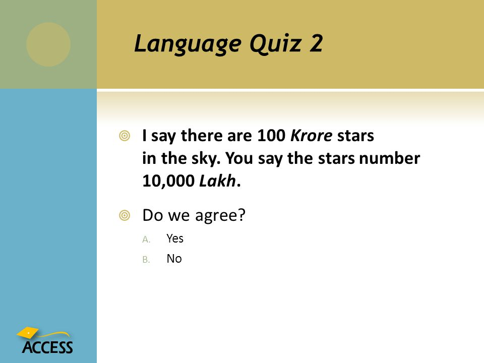 Language Quiz 2 I say there are 100 Krore stars in the sky. You say the stars number 10,000 Lakh.