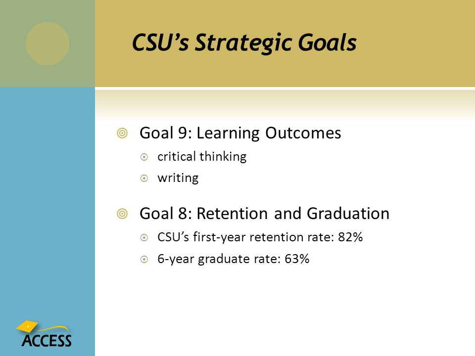 CSU's Strategic Goals Goal 9: Learning Outcomes
