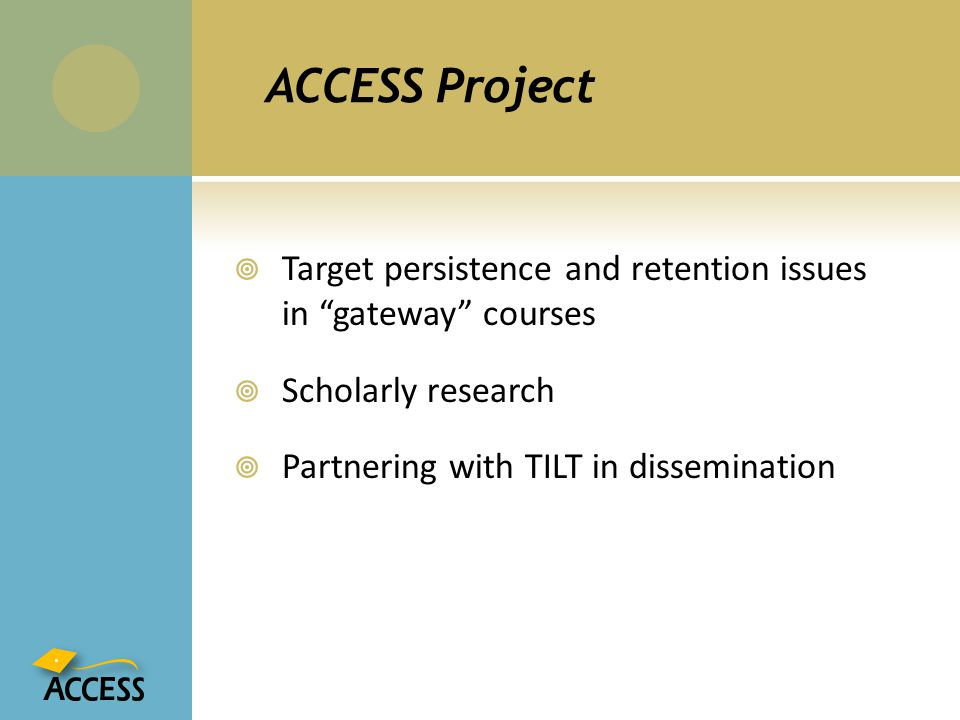 ACCESS Project Target persistence and retention issues in gateway courses.