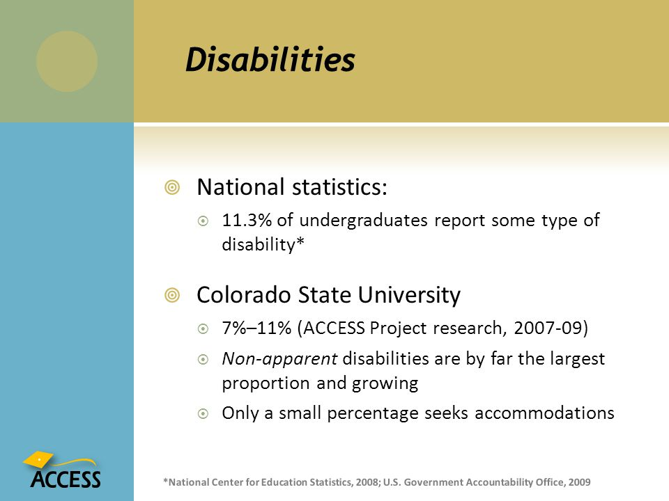 Disabilities National statistics: Colorado State University