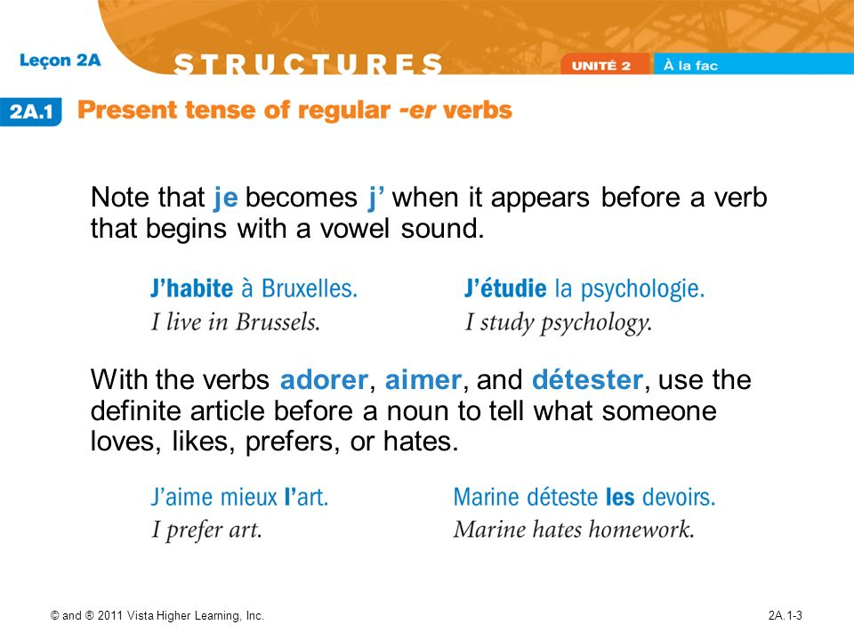 Note that je becomes j' when it appears before a verb that begins with a vowel sound.
