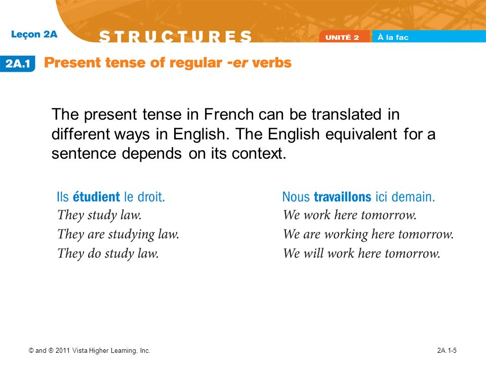 The present tense in French can be translated in different ways in English. The English equivalent for a sentence depends on its context.