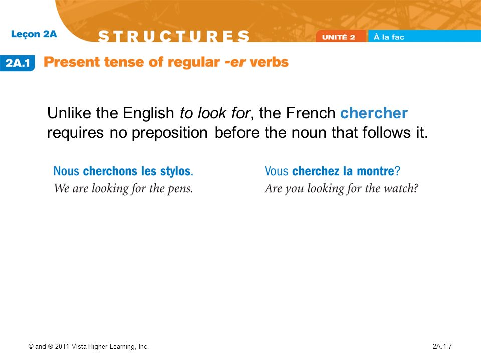 Unlike the English to look for, the French chercher requires no preposition before the noun that follows it.