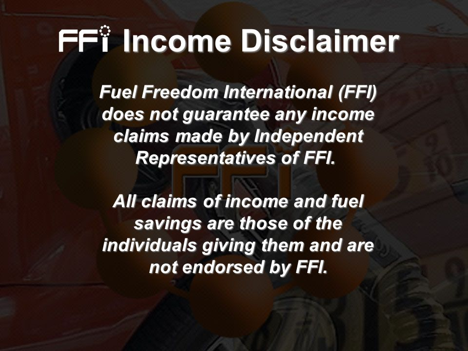 Income Disclaimer