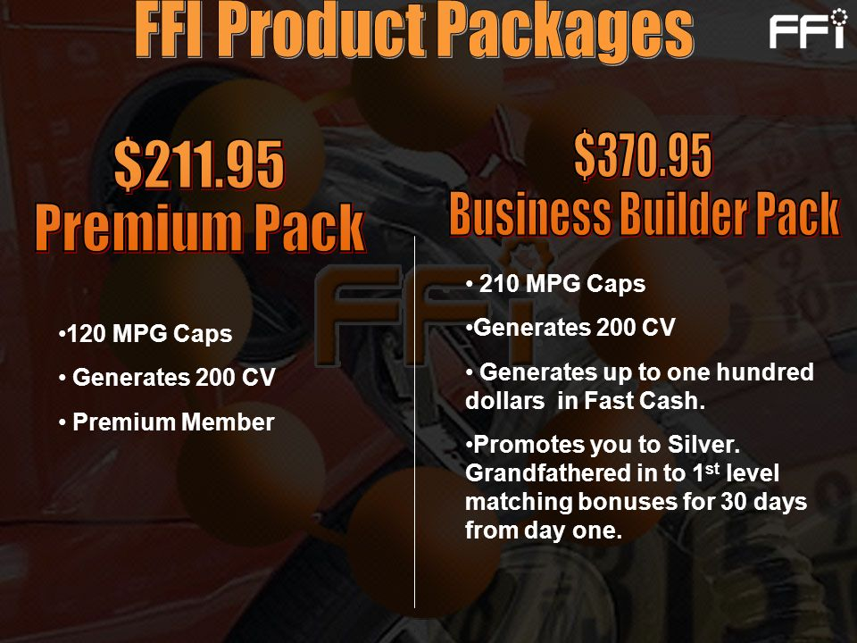 FFI Product Packages $370.95 $211.95 Business Builder Pack