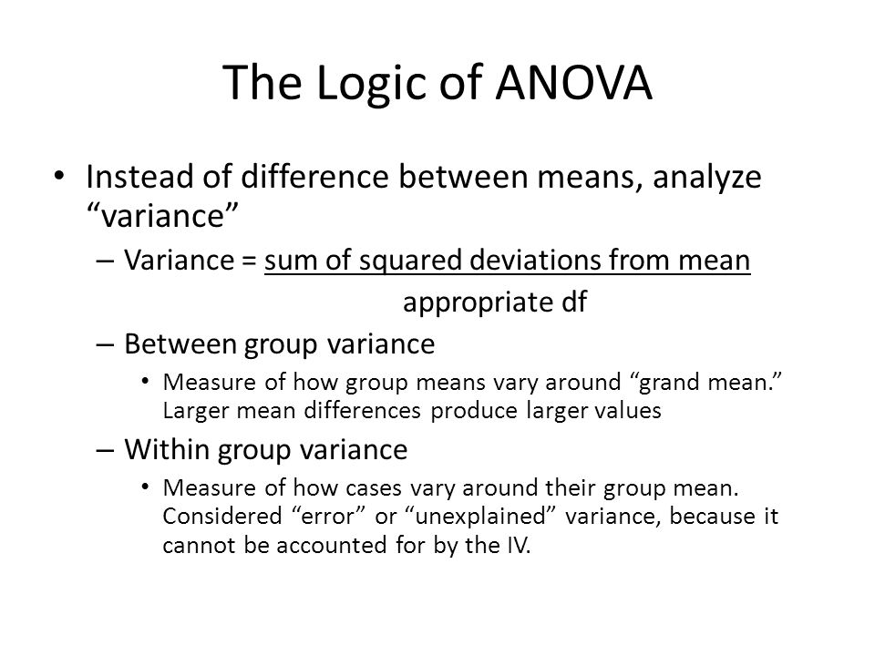 the logic of anova Statistical inference • the use of theoretical sampling  anova, and linear regression (all coming up in future exciting classes) scwk 242 week 6 inference 13  • but the basic logic of inference testing is the same • it requires non-parametric statistical tests (vs.