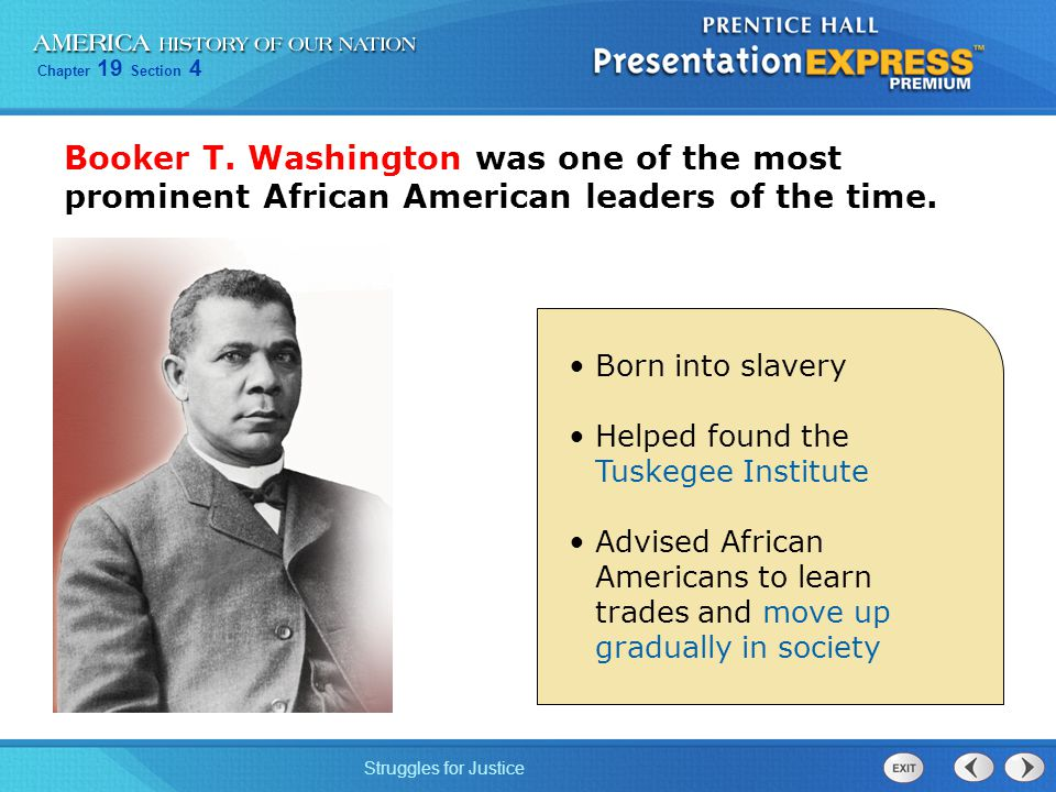 booker t washington a fight for african americans Booker t washington  alabamans who were trying to establish a school for african americans in their state washington and his  their fight on july 4, 1910.