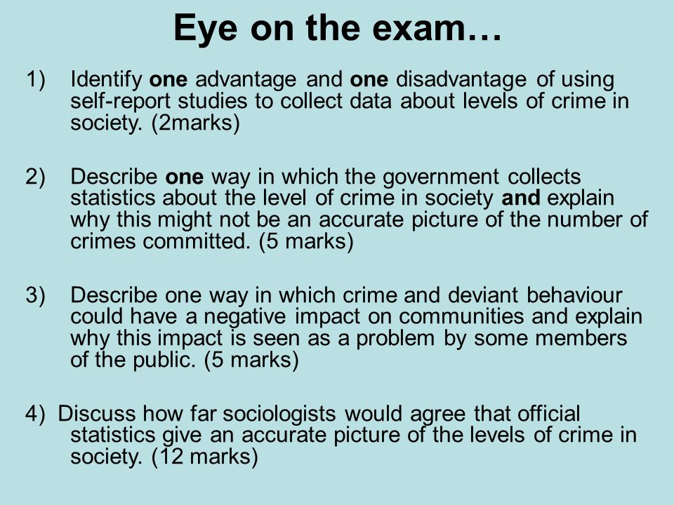 identify the official crime statistics in Evaluate canadian crime statistics  crime, and social control  crime a behaviour that violates official law and is punishable through formal sanctions.
