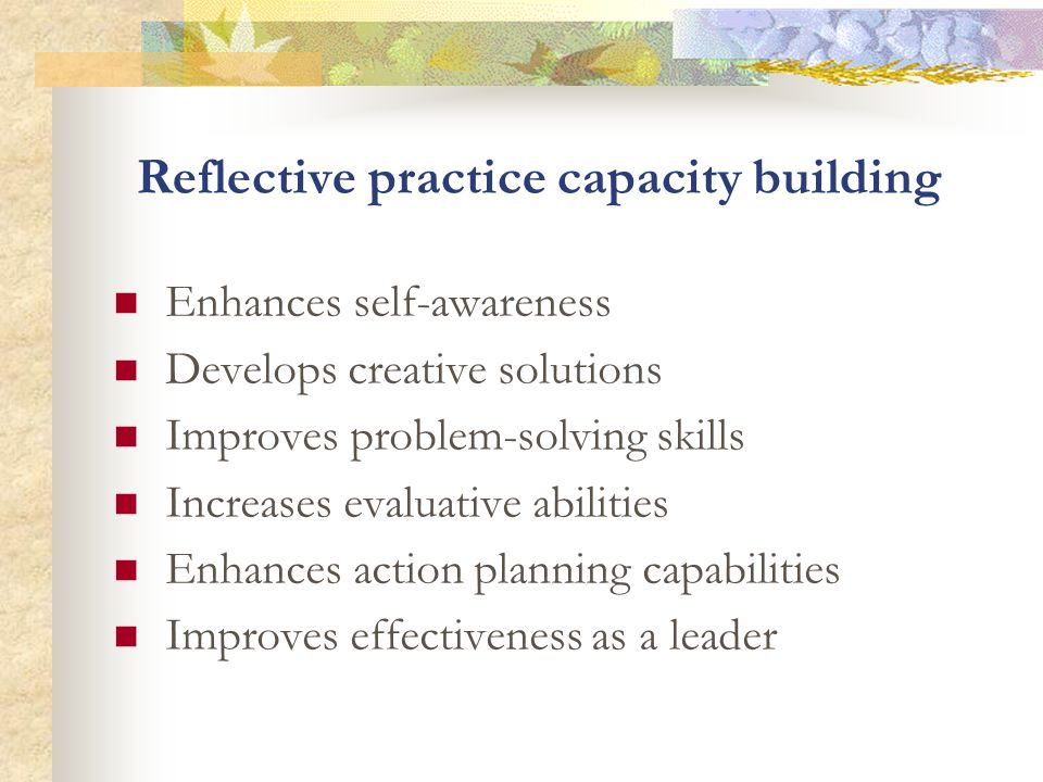 Reflective practice capacity building